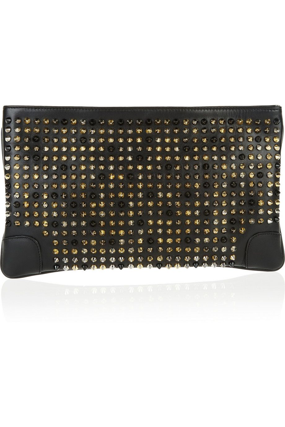 36e8579c35d Christian Louboutin | Loubiposh spiked leather clutch | clutses ...