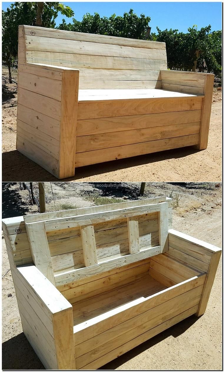 Wooden pallet couch with storage palet muebles con for Sillones de madera reciclada