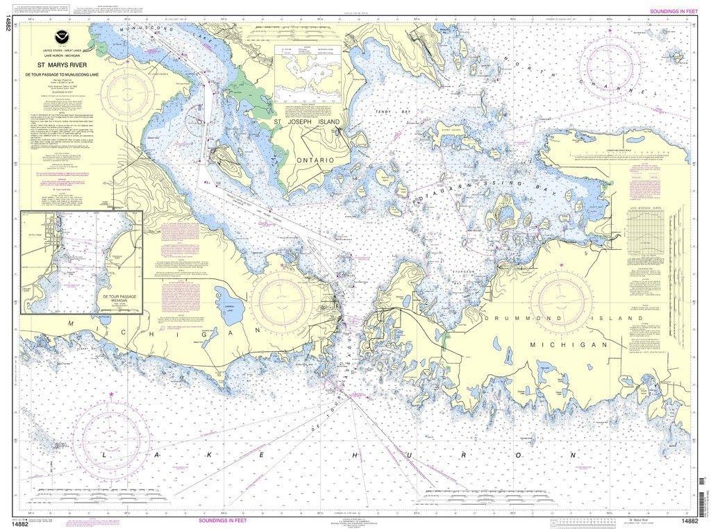 Noaa Nautical Chart 14882 St Mars River Detour Passage To Munuscong Lake Det In 2020 Fantasy Map Nautical Chart Map Art