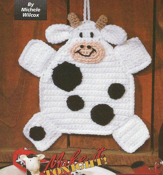 Crochet Crocheting Pattern for a HANDY HOLSTEIN Cow Potholder Hot ...
