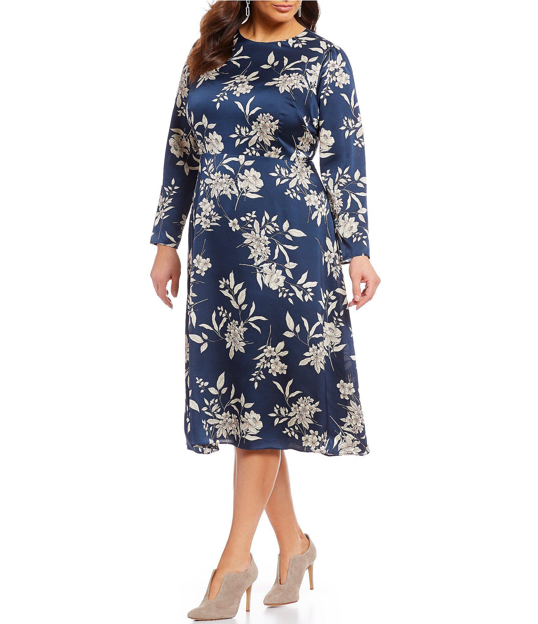 Vince Camuto Plus Size Floral Print Etched Bouquet Midi Dress ...