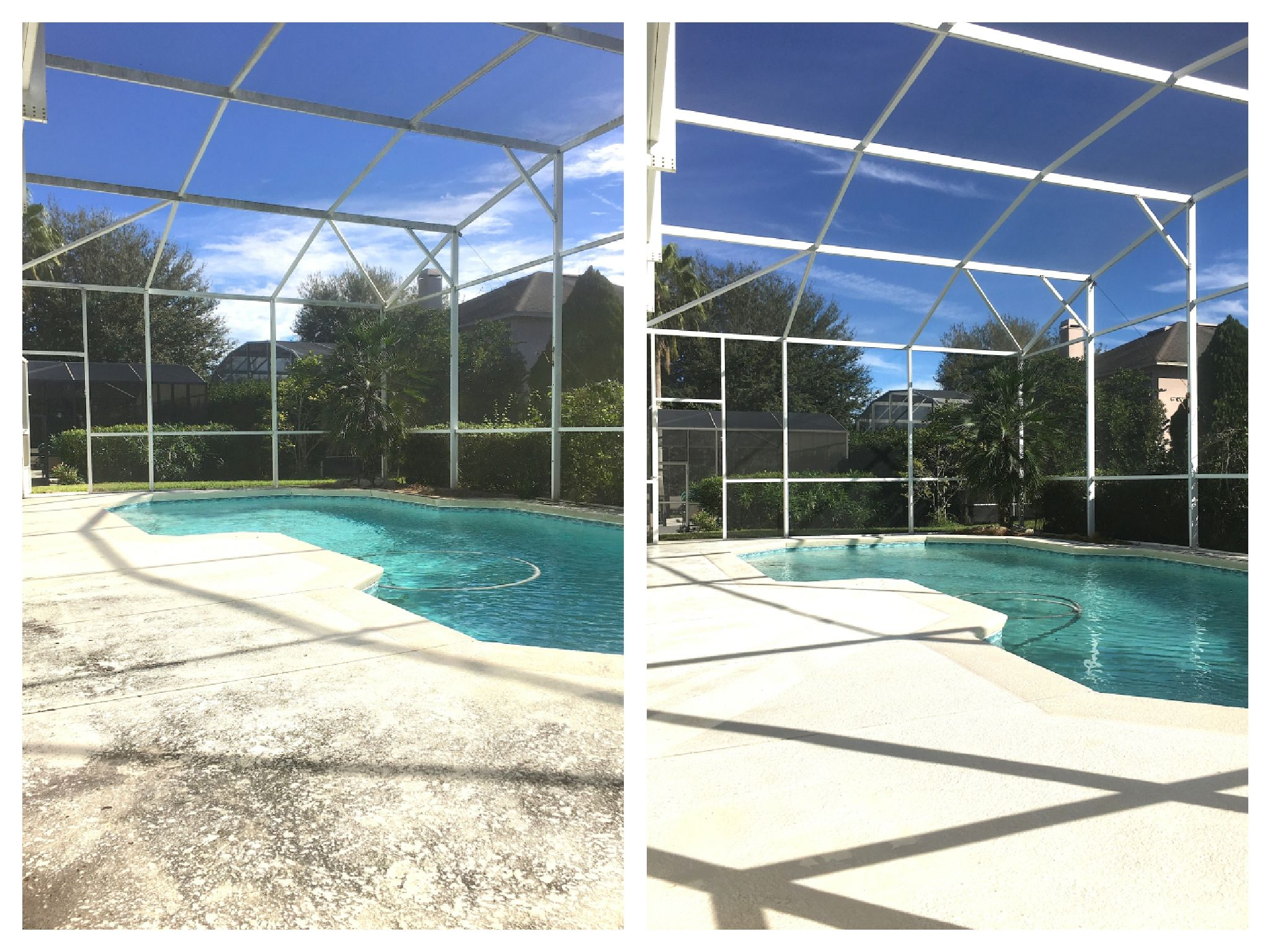 Nice before after of this orlando pool screen enclosure for Pressure clean pools