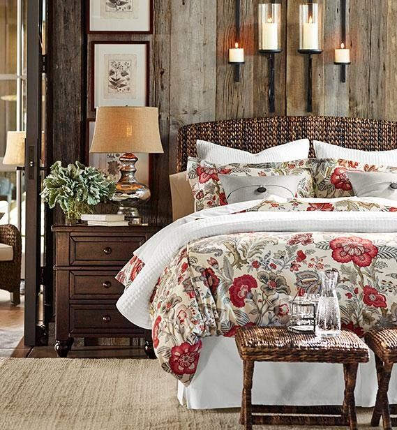 Traditional Master Bedroom With Pottery Barn Seagr Headboard Allegra Palampore Duvet Cover
