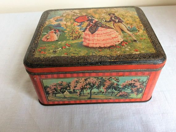 Vintage Metal Storage Tin A Pretty Decorative Tin Box Ideal For Awesome Decorative Metal Boxes With Lids