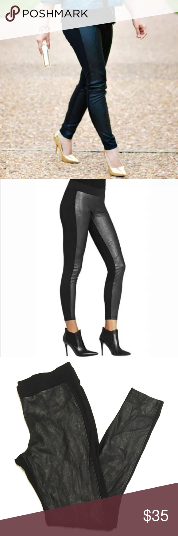 "a2a5e3a974f4b CAbi Stevie Faux Leather Leggings #973 CAbi ""Stevie leggings"" with faux  leather front"