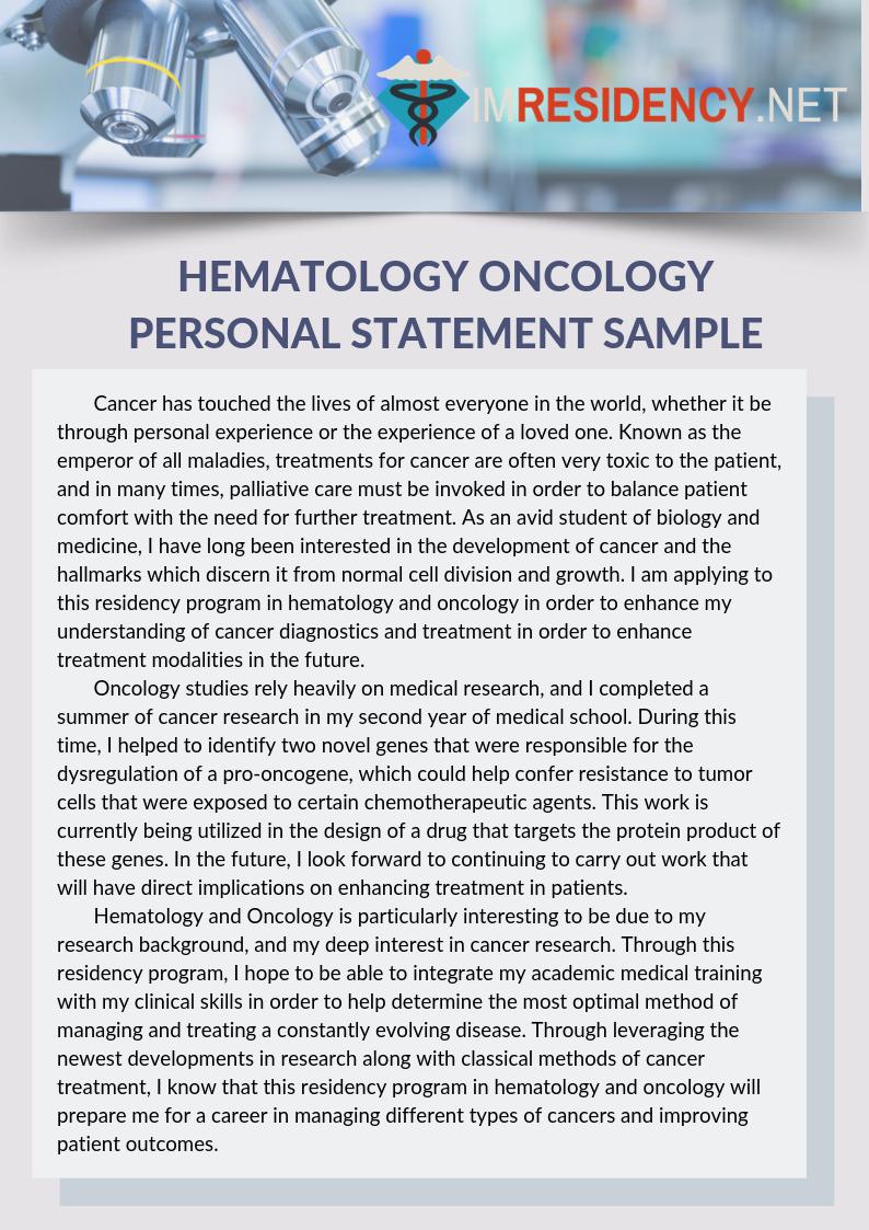 Hematology Oncology Personal Statement Sample Example Internal Medicine Gi