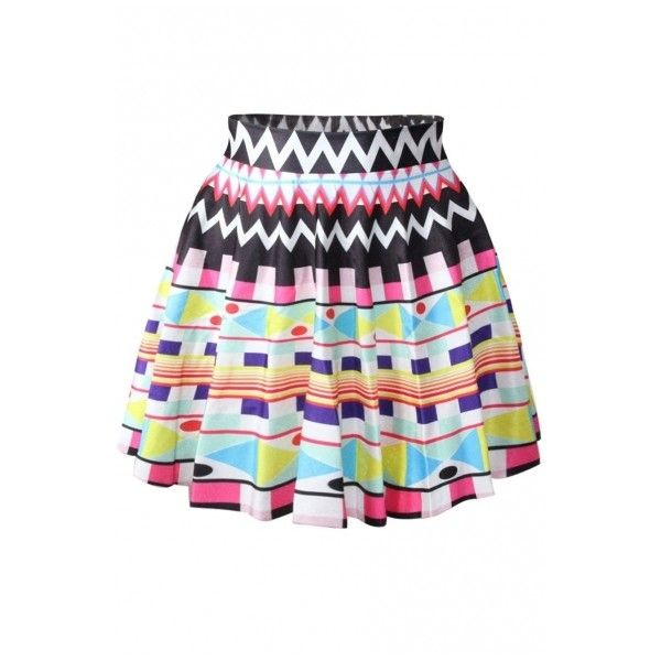 Multi Color Geometry Pattern Print Skater Skirt ($16) ❤ liked on Polyvore featuring skirts, print skirt, multicolor skirt, skater skirt, patterned skirt y flared skirt