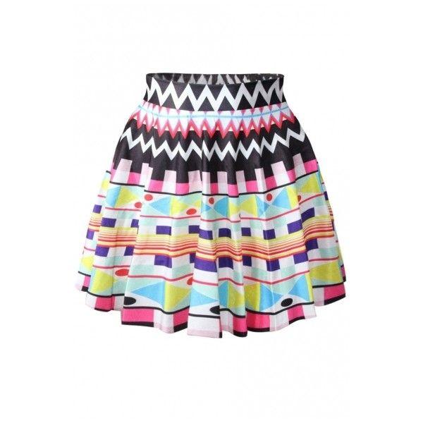 Multi Color Geometry Pattern Print Skater Skirt ($16) ❤ liked on Polyvore featuring skirts, print skirt, multicolor skirt, skater skirt, patterned skirt y flared skirt