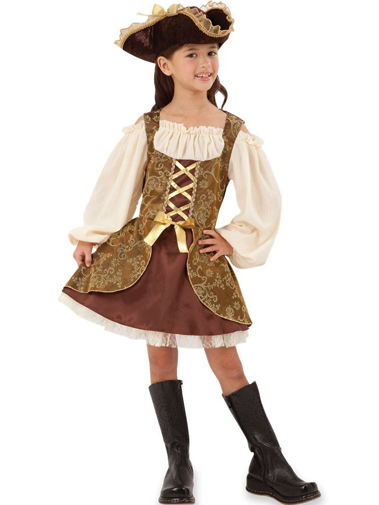 Child Girls Golden Pirate Dress Fancy Dress Party Costume