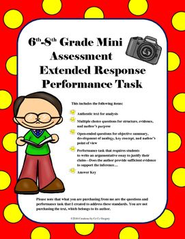 6th 8th Grade Mini Assessment And Extended Response Performance Task Student Will Write An Argume Essay On Education Writing Competition Structure Justifying Evaluation Topic Outline Example