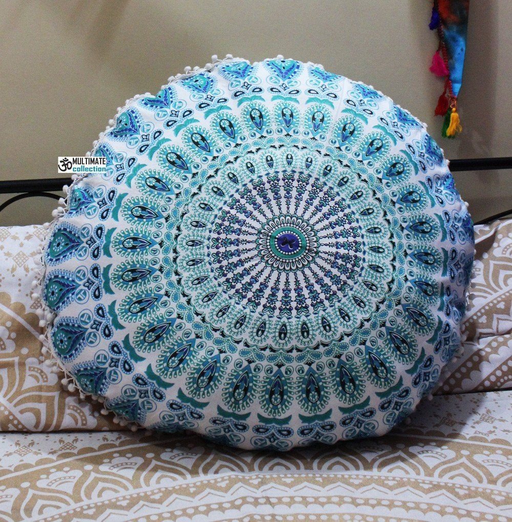 Green Ombre Large Indian Floor Pillow Seating Cushion | Floor ...