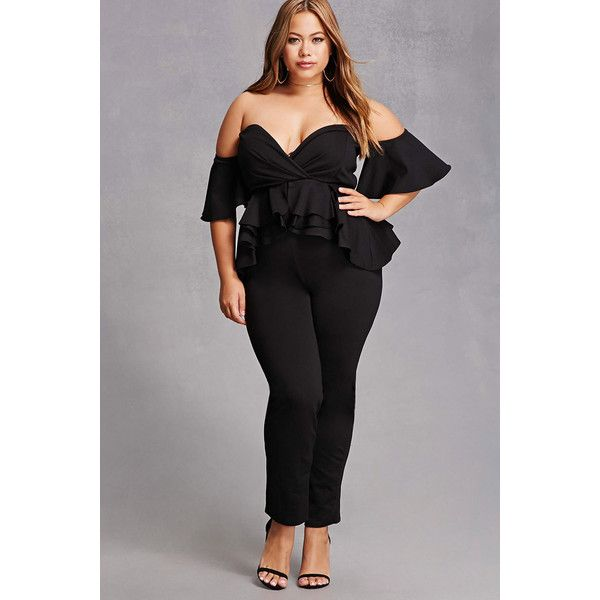 3dc189fe91a Forever21 Plus Size Peplum Jumpsuit ( 58) ❤ liked on Polyvore featuring plus  size women s