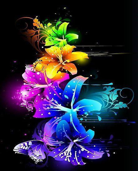 'rainbow neon flowers' by leen12