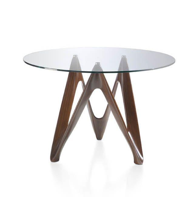 Preciosa mesa de comedor con cristal templado redondo y base nogal ...