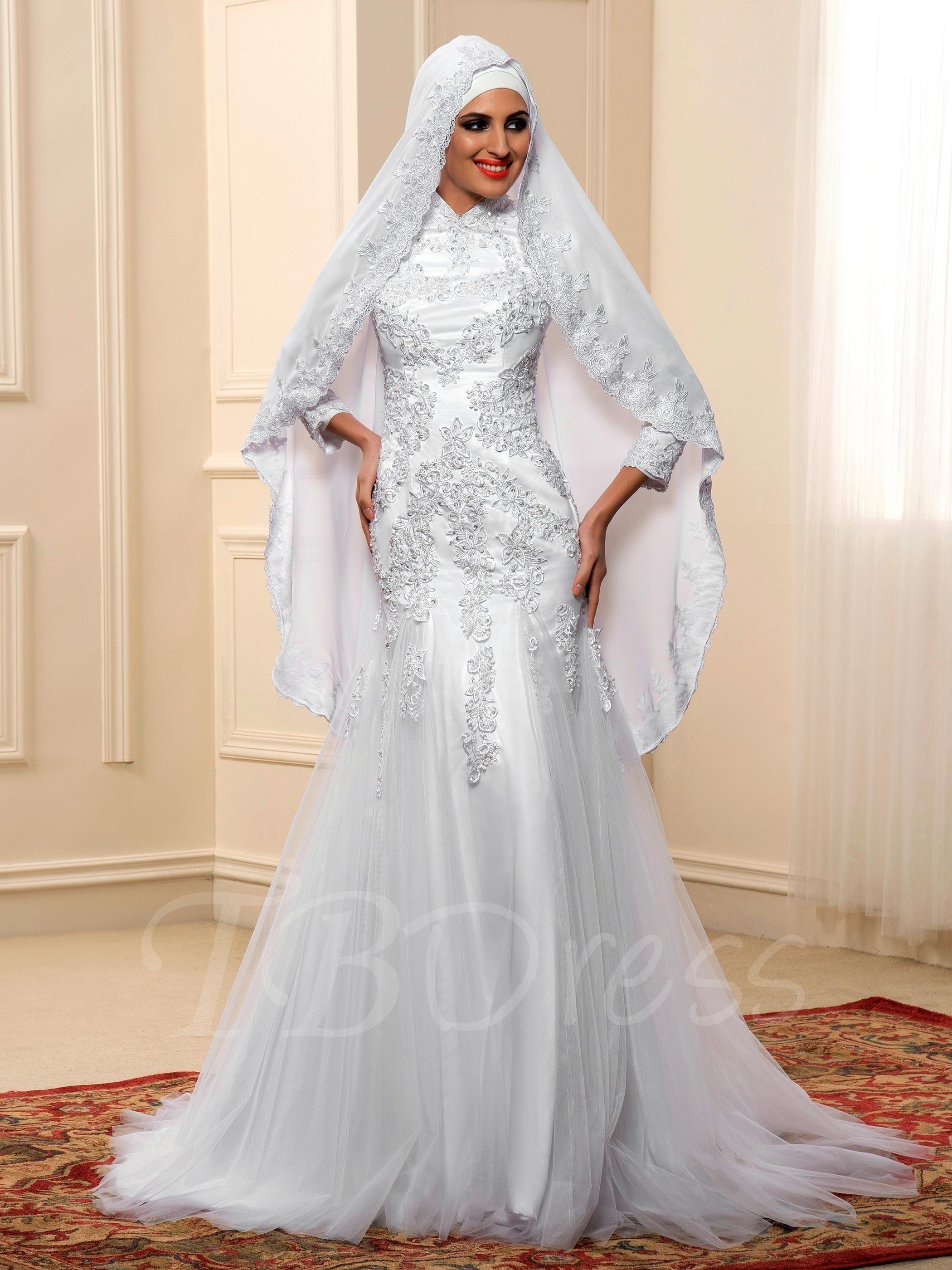 Islamic long sleeve lace tulle mermaid muslim wedding dress