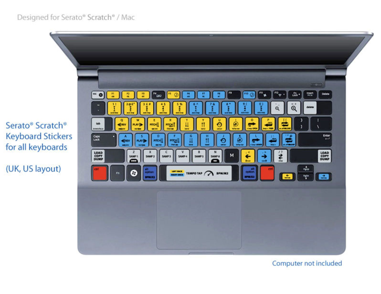 Serato Scratch Live Keyboard Shortcuts Stickers Labels - For