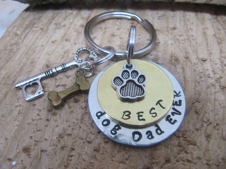 Best dog dadgift for daddog dad hand stamped key chain