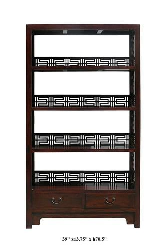 You are looking at a Chinese handmade old solid elm wood book shelf. This book shelf has 4 shelves and two drawers at the bottom.   This is the traditional design with unique traditional Chinese character Happiness carving on the sides.    It can also be a unique display cabinet for your living room.