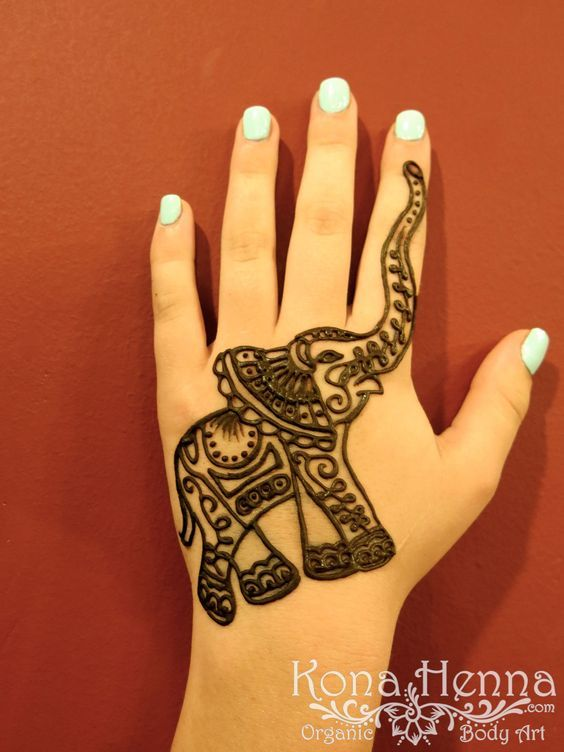 Classic Henna Elephant Tattoo On Girl Left Hand    tattoos