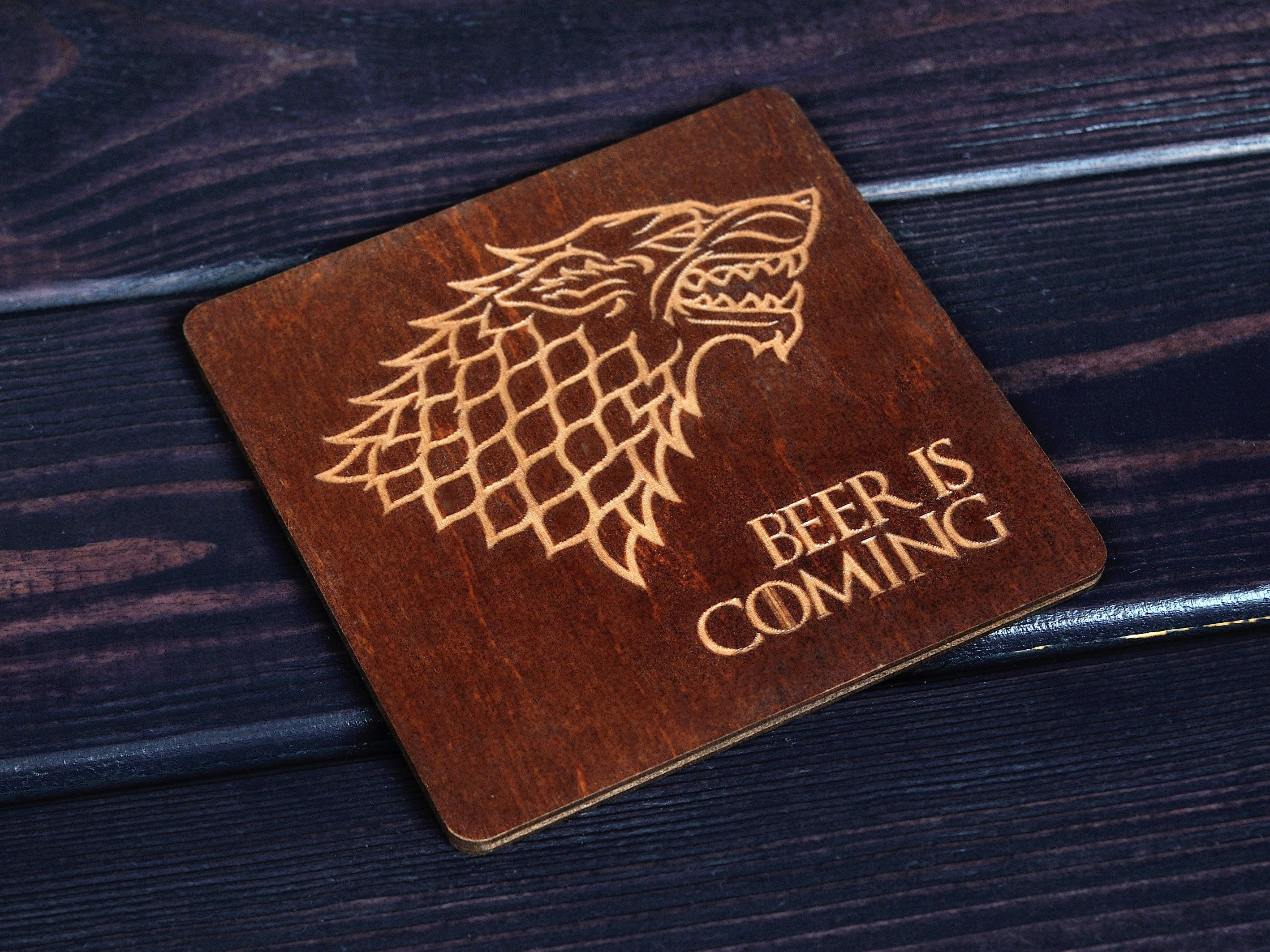 SET of 4 Game of thrones Coaster Beer is coming 4x4 in
