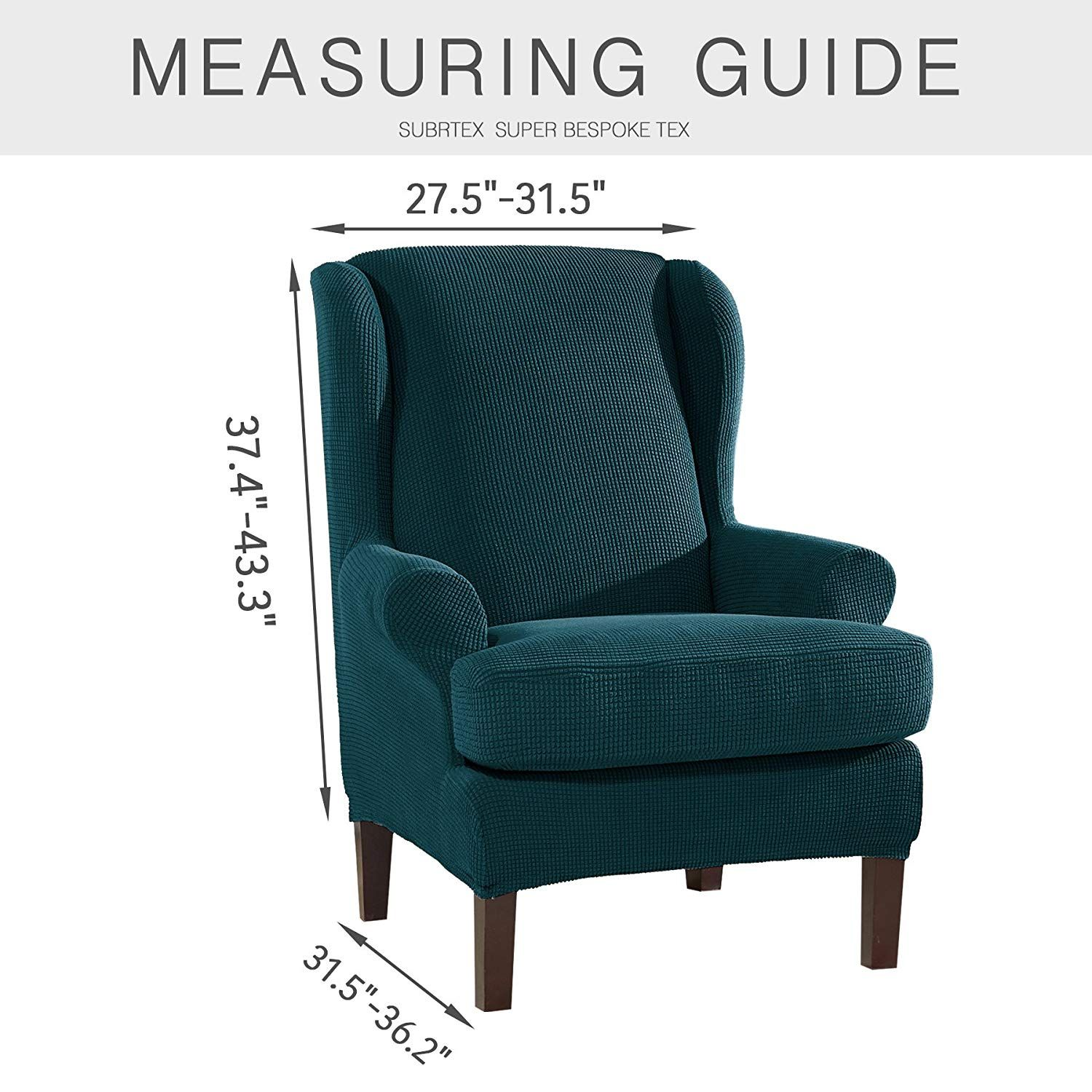 Blue Wingback Chair Slipcovers Recliner Chairs Costco Subrtex 2 Piece Spandex Waffle Fabric Stretch Wing