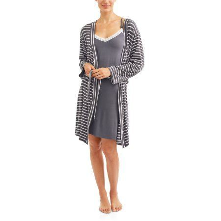 840fbb7420a Nurture by Lamaze Maternity 2-Piece Nursing Chemise and Robe Set --  Available in Plus Size, Women's, Size: XL, Gray | Products | Pinterest