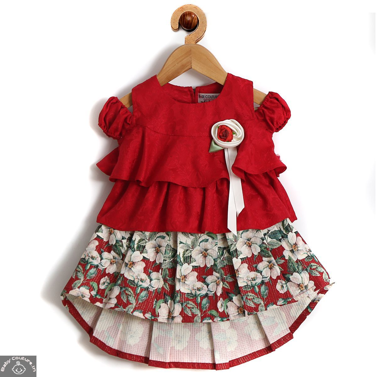 Rose Couture Layered And Pleated Skirt Top Set  Baby girl dresses