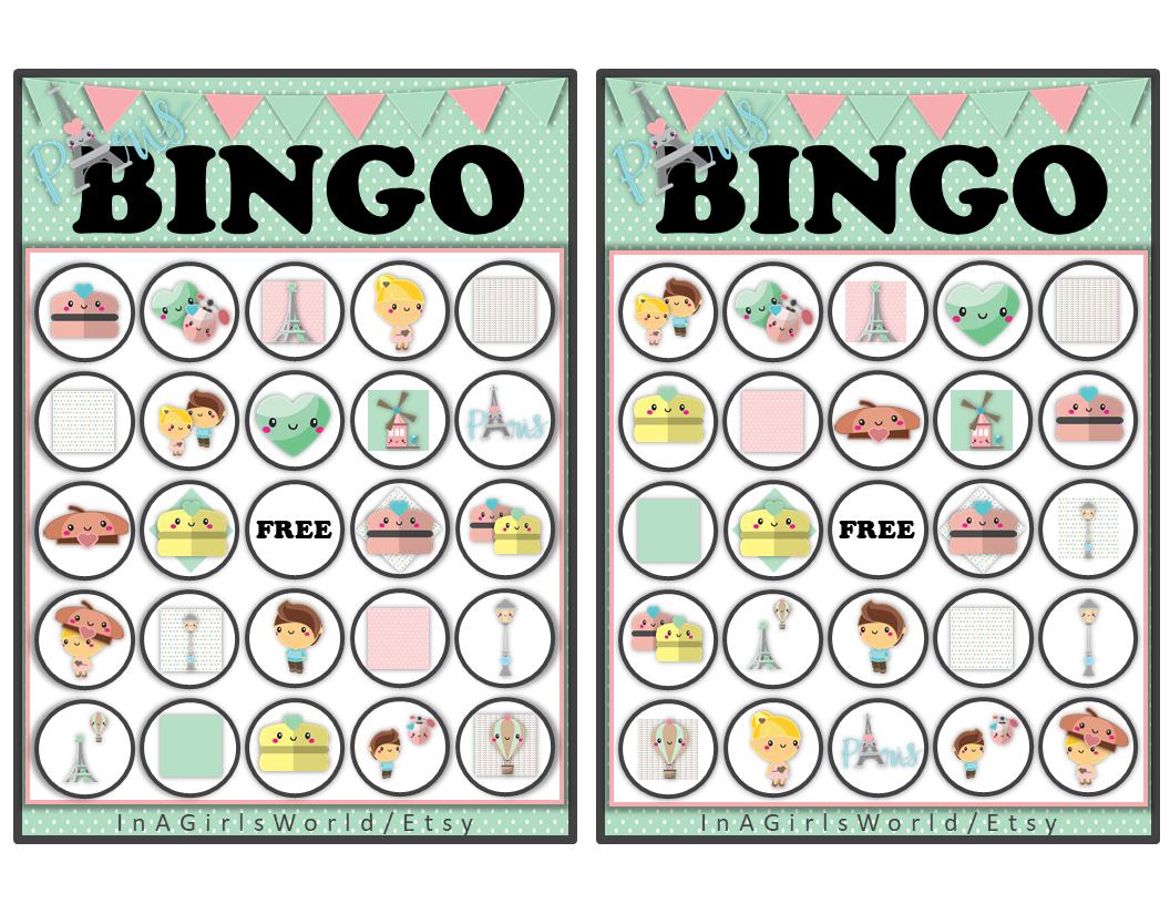 Paris Themed Bingo Cards