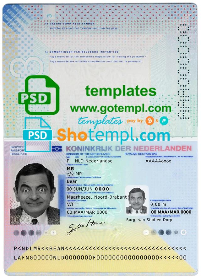 Netherlands Passport Template In Psd Format Fully Editable With All Fonts 2014 Now Passport Template Passport Online Passport