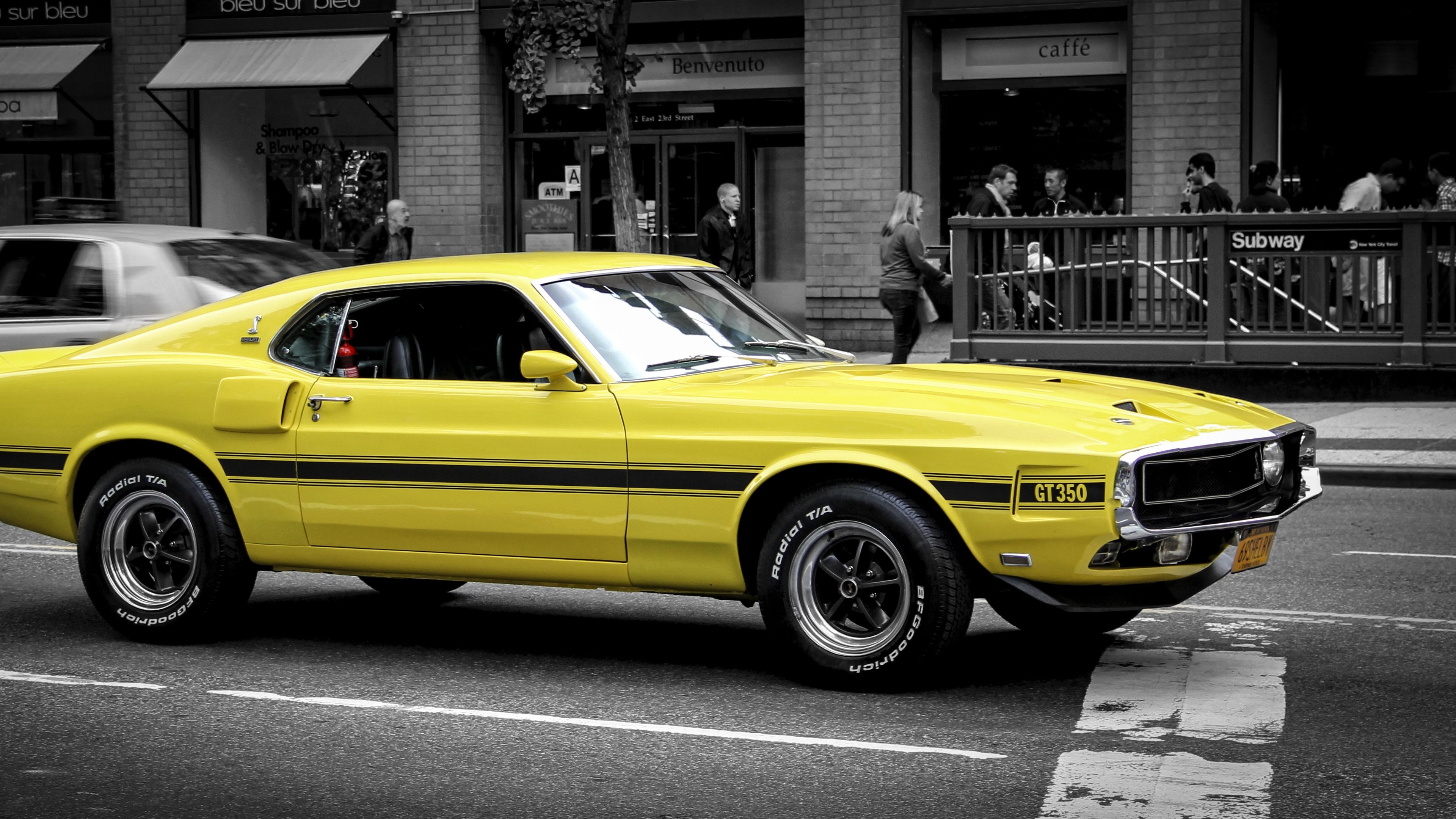 Wallpaper 4k Ford Mustang Gt Muscle Car Yellow Side View 4k Ford Mustang Gt Muscle Car