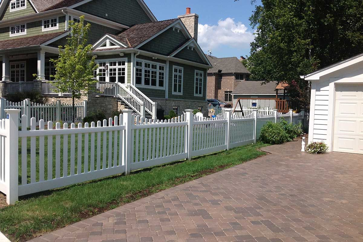 4 Foot White Scallop Vinyl Pvc Picket Fence Designed And Installed By First Fence Company In Hillside Il Vinyl Picket Fence Picket Fence Panels Vinyl Fence