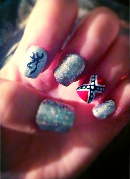 country girl nails - glitter, browning and rebel flag - don't really like  the rebel flag design tho - Not So Much The Flag Love The Browning Sign Nails Pinterest