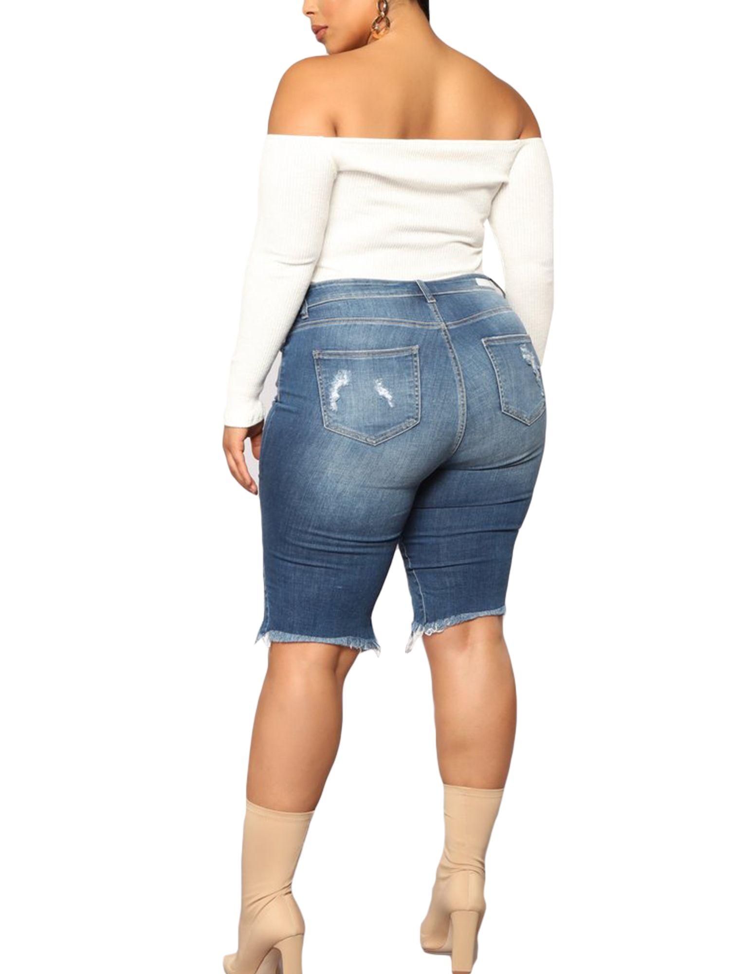 New Vintage Women High Waist Wide Leg Ripped Distressed Denim Jeans Shorts Pants