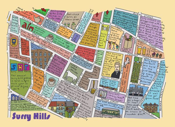 Surry Hills Map Sydney   Surry Hills Map by Richard Gill | Illustrations of the  Surry Hills Map