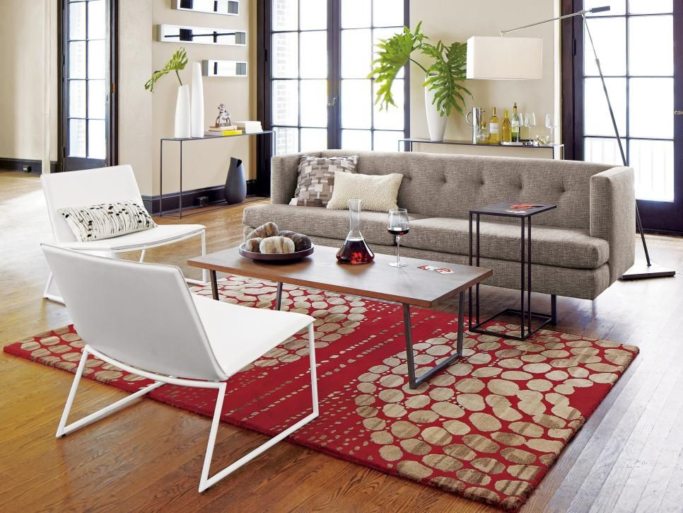 Mid Century Modern Living Room Rug this midcentury modern has a gray sofa and white chairs paired