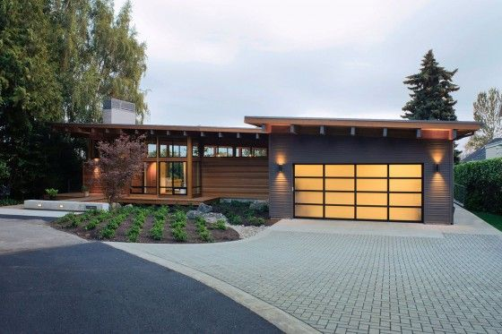 Diseño de casa de madera de una planta, moderna construcción se - fachada madera