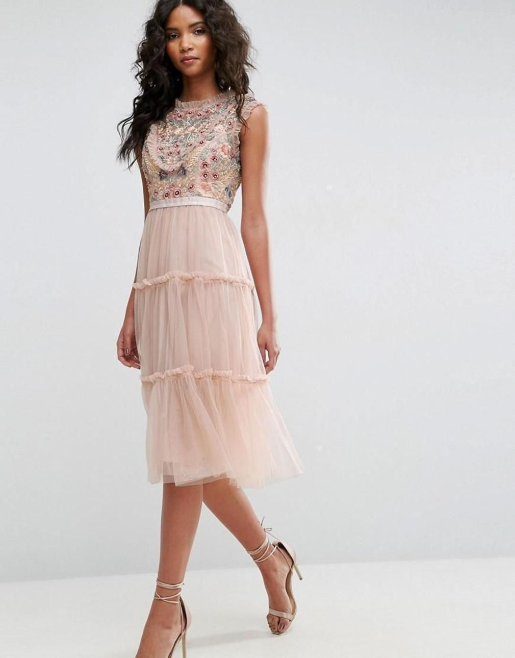 fac5eefb84097 Needle thread sundaze embellished tulle midi dress standard