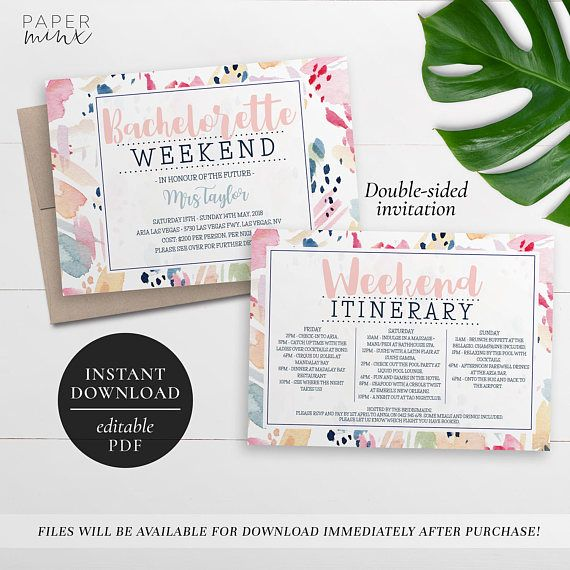 Editable Template Printable Invitation Bachelorette Weekend Succulent Invitation Itinerary Hens Weekend Palm Springs