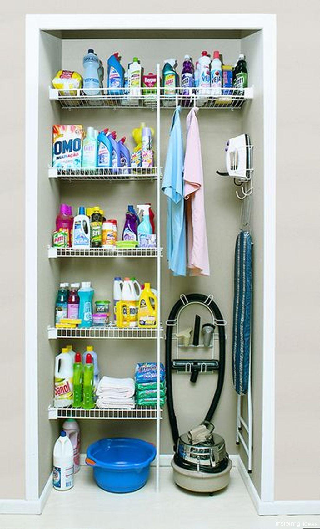 90 Genius Cleaning Supplies Storage Ideas  Cuarto de Lavado  Armario de lavandera Almacenamiento de despensa Diseo de lavadero