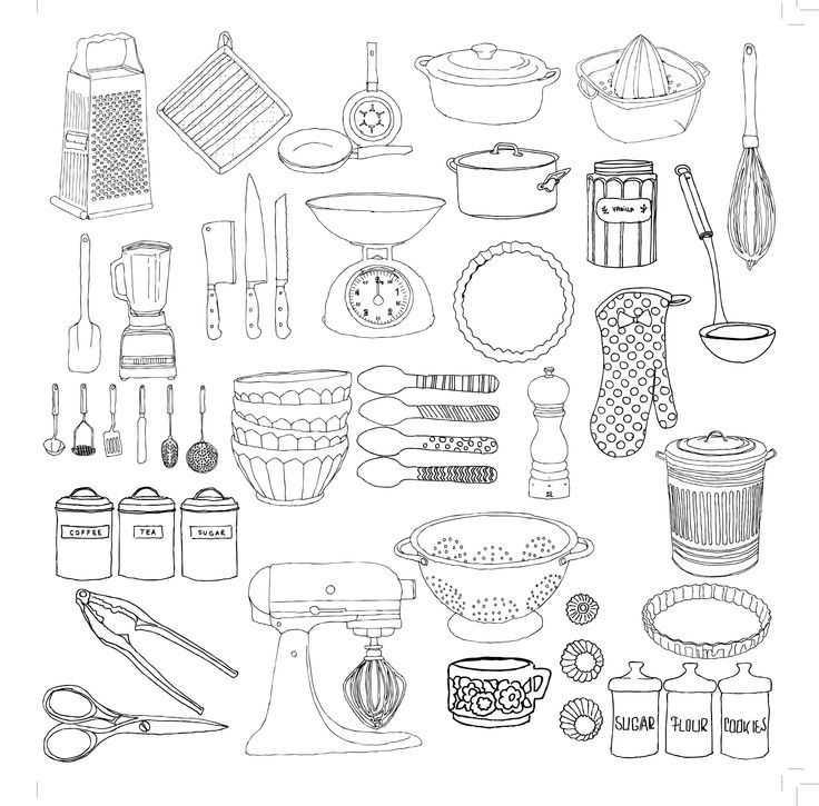 Hand drawn kitchenware  Digital  Coloring Pages  Pinterest