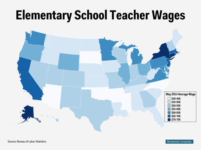 Here\'s how much elementary school teachers make in each state ...