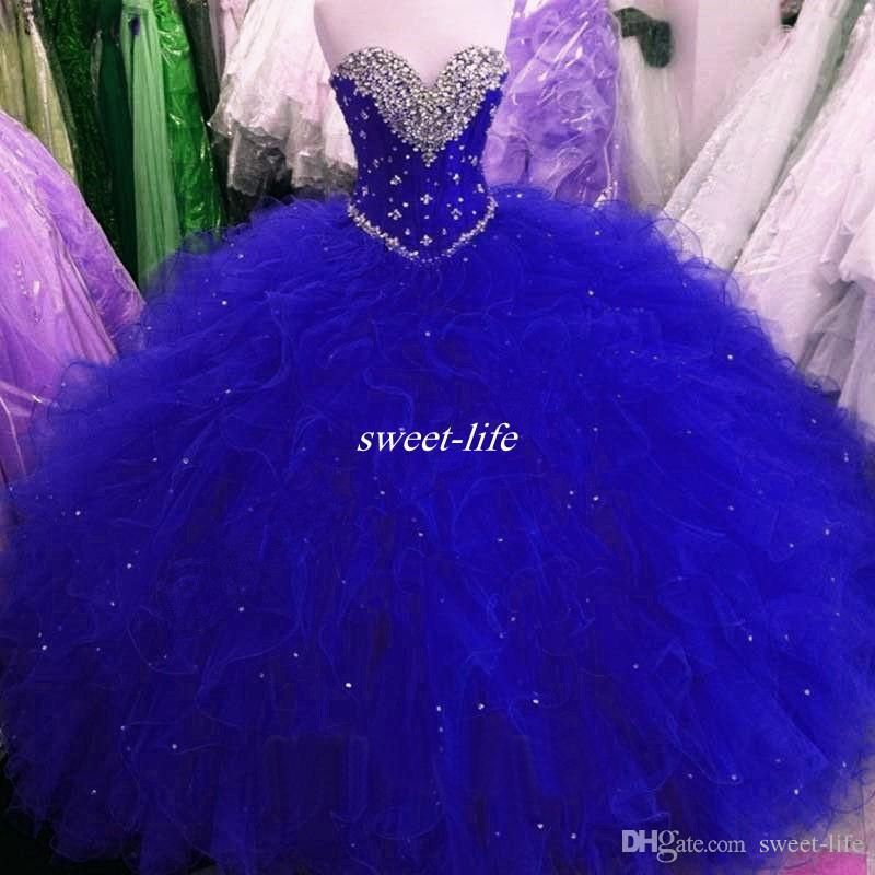 69838bc8258 Real Images Royal Blue Sweet 16 Party Debutantes Gowns Puffy Tulle Crystals  Sweetheart Neck Corset Back 2017 Plus Size Quinceanera Dresses Quinceanera  ...