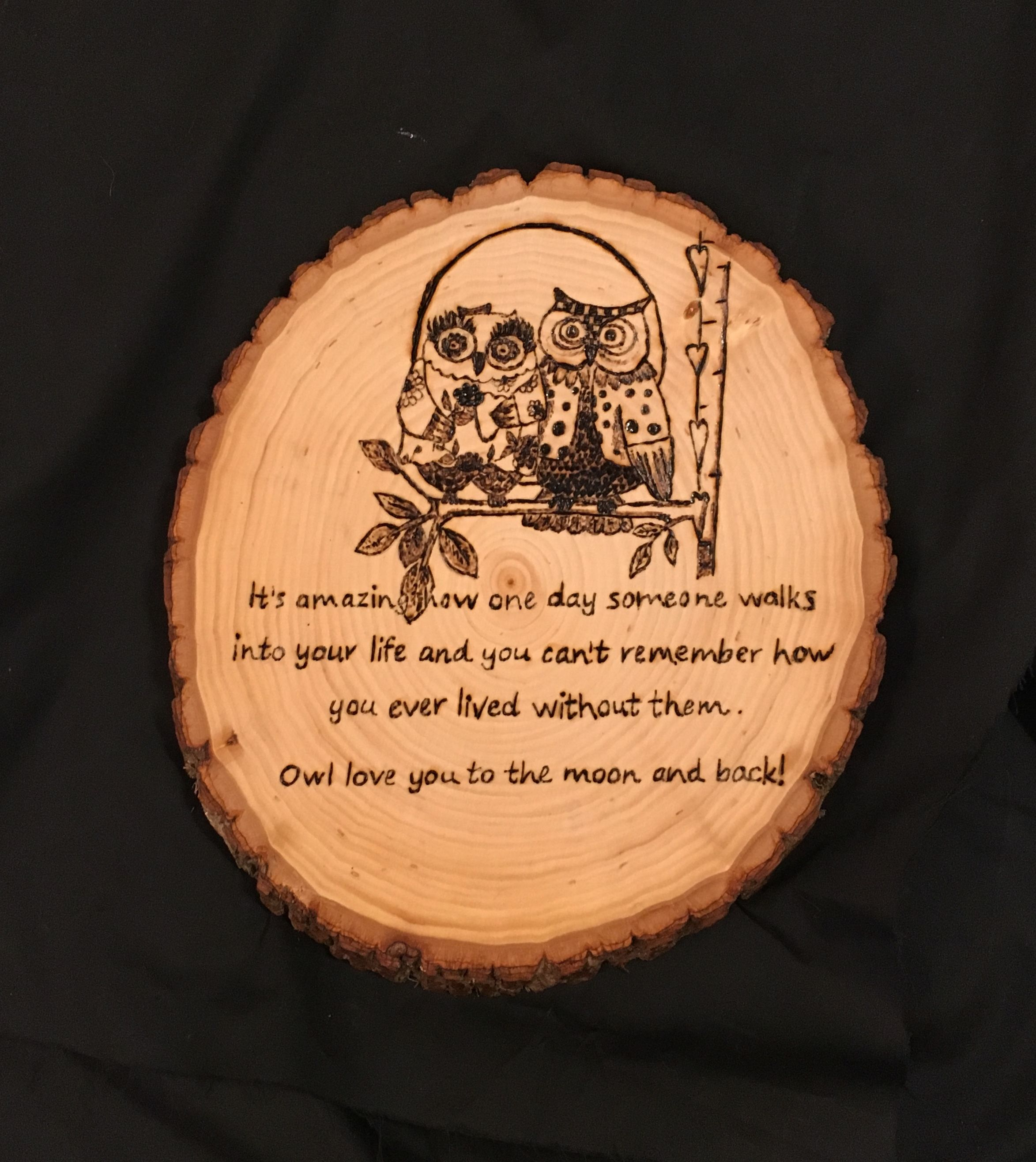 """Approximately 8""""x10"""" wood burned basswood. Seal in a coat"""