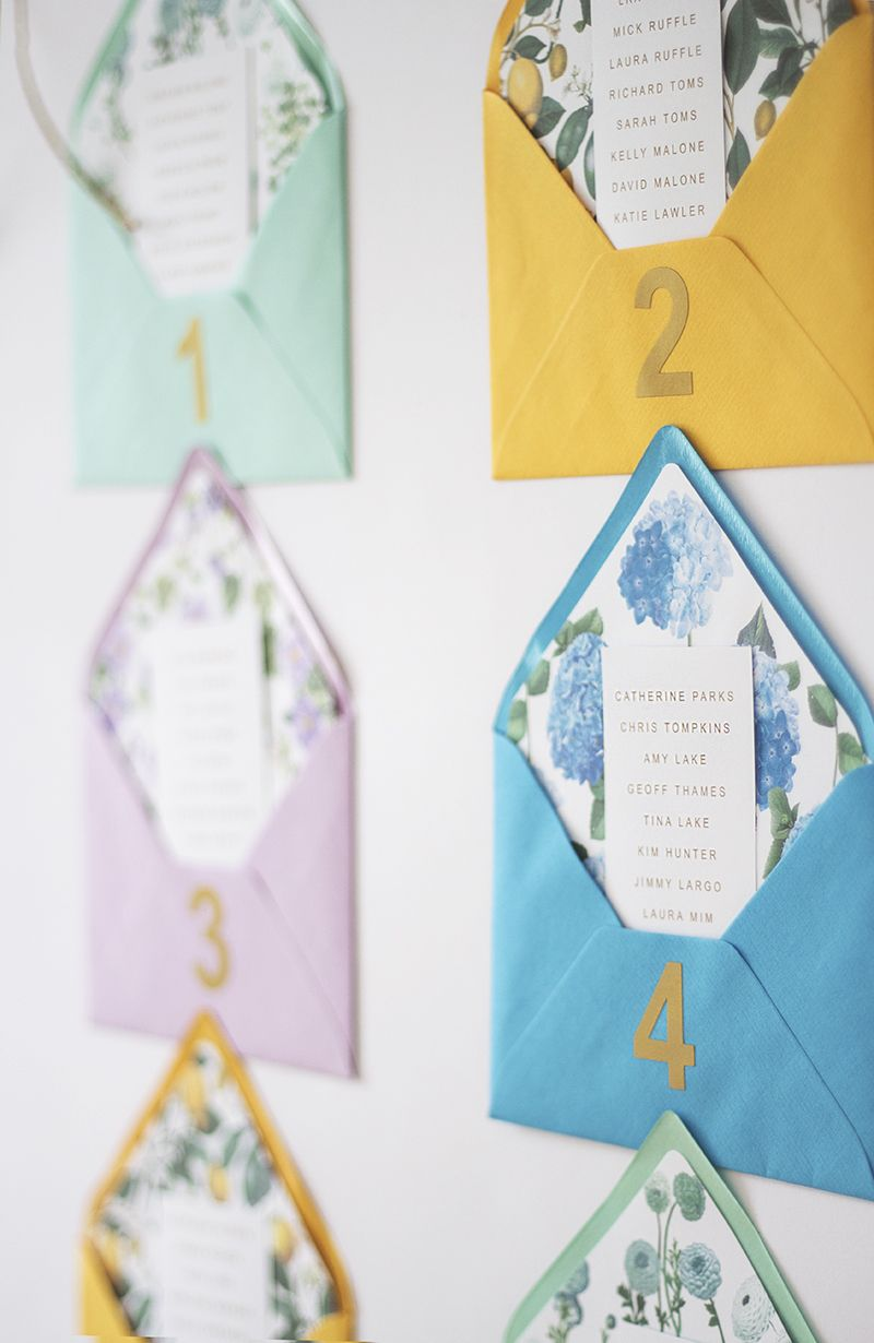 Pretty DIY Envelope Table plan with free printable floral envelope liners