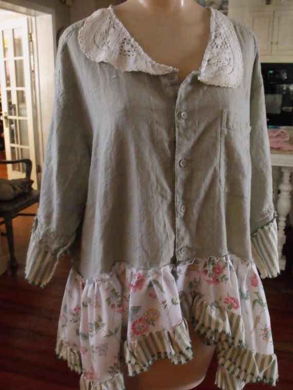 Linen/Lace/Ruffles/Raw Edges/Upstyled/Altered Man's by SheerFab