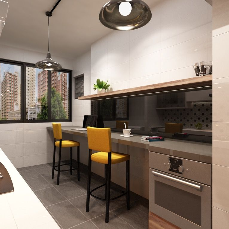 Handmade Kitchen Living Dining Room Remodel By Northwind: Another Modern Design HDB BTO 4-room Flat, With Open