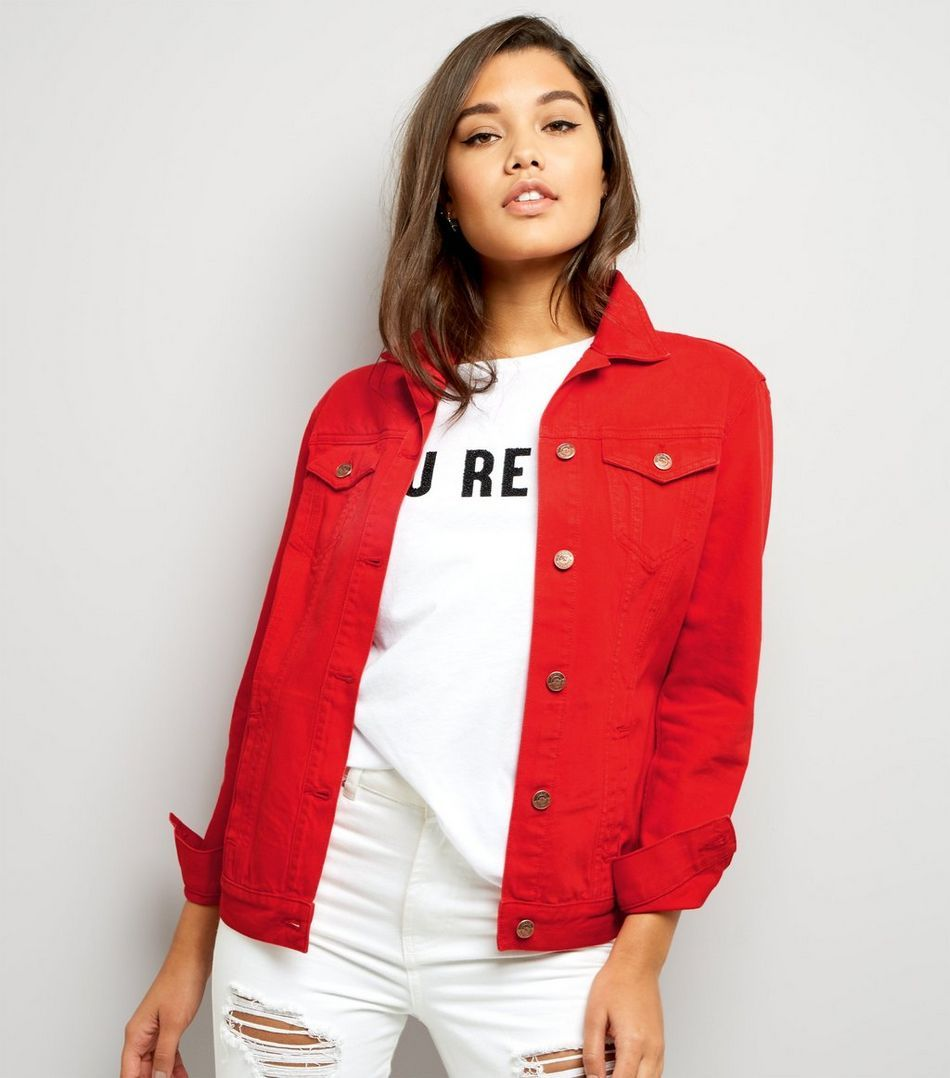 Red Denim Jacket | Red denim jacket, Denim jackets and Coats