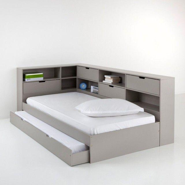 Lit avec tiroir, rangements et sommiers Yann | Lit tiroir, Meuble rangement chambre, Lit enfant ...