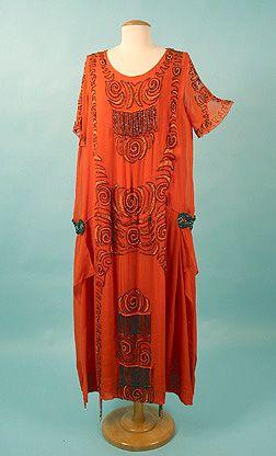 Beaded Chiffon Party Dress, 1920s.