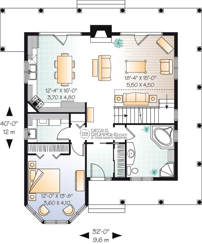 house_plan_maison_1_etage_et_demi_split_level_RDC_W3506 Plans